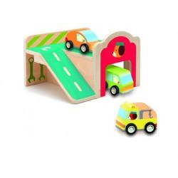 Djeco Drewniany garaż z autami