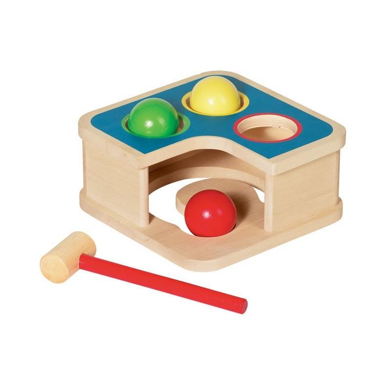 Goki Drewniana przybijanka z piłkami i młotkiem