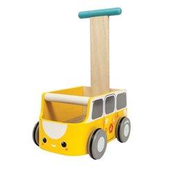 Plan Toys Drewniany chodzik żółty van